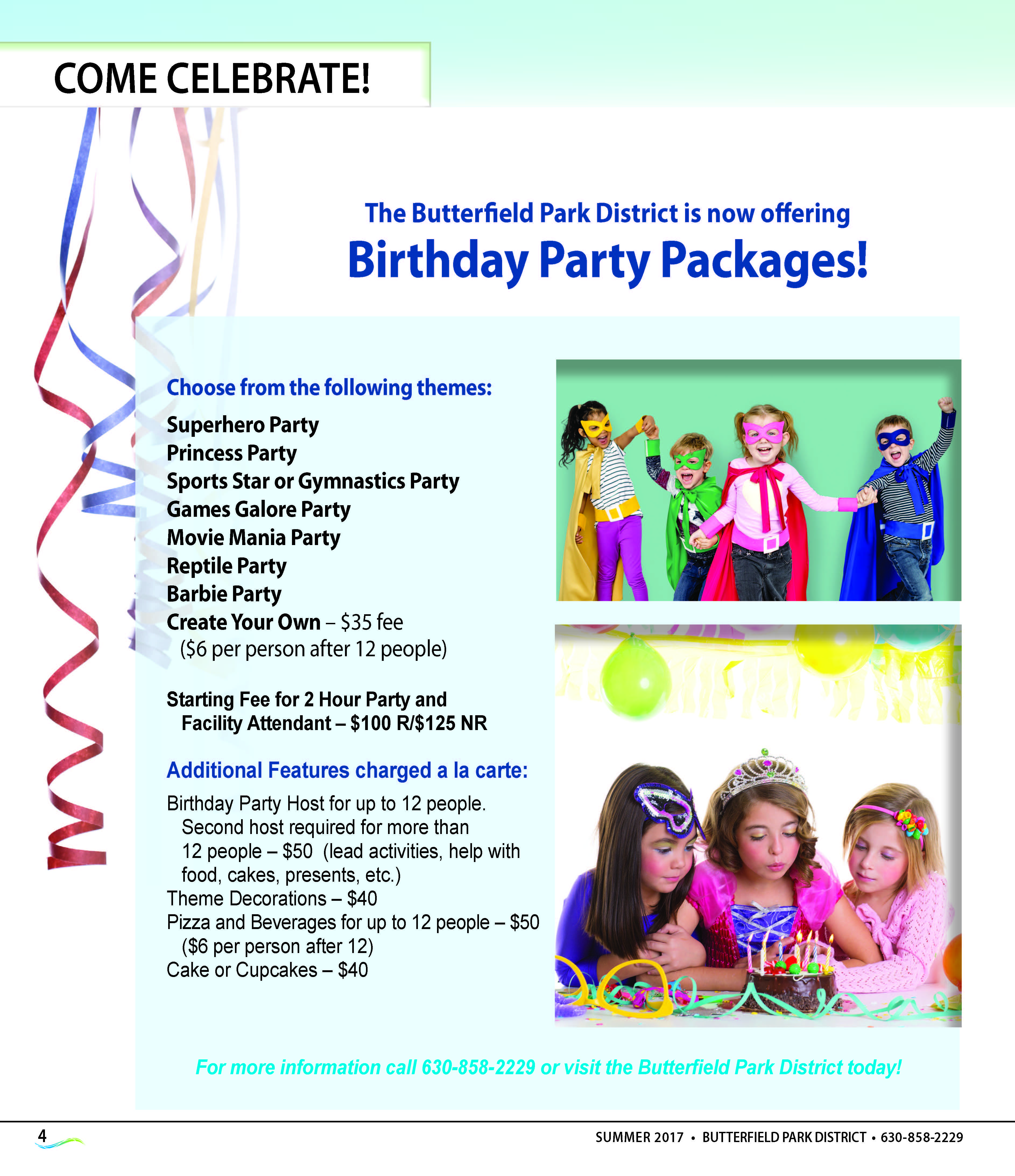 Rentals and Party Packages